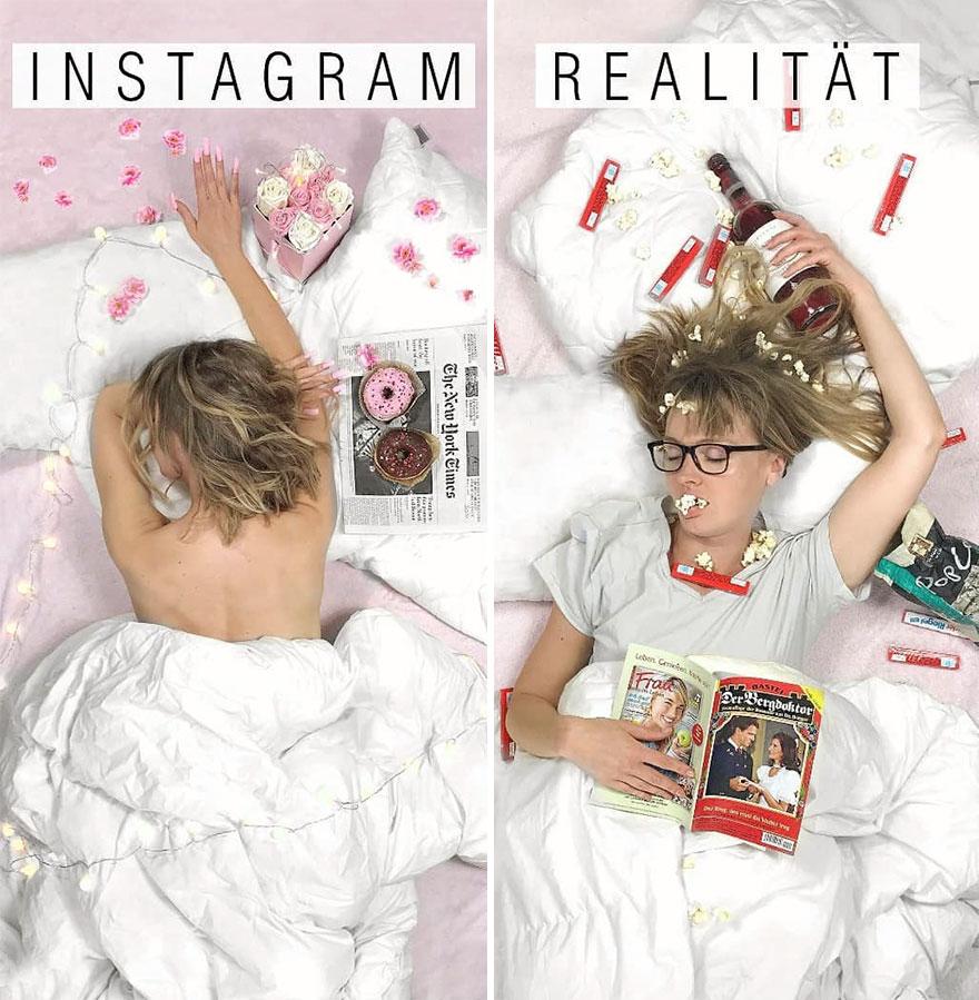 Инстаграм и жизнь: девушка в кровати