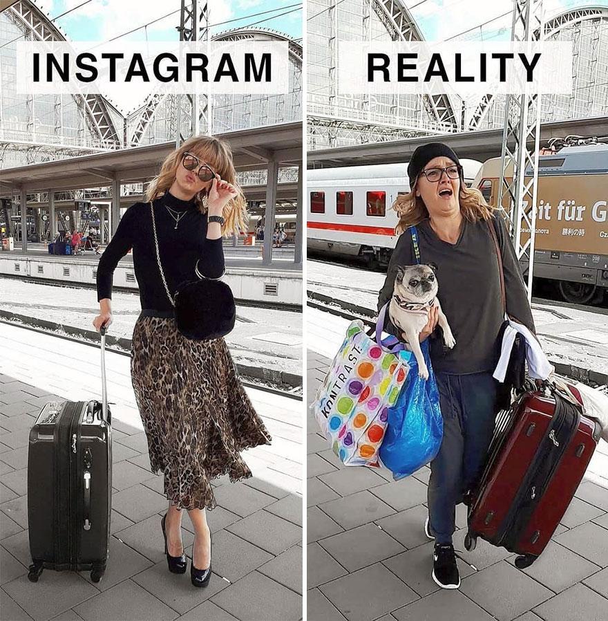 Инстаграм и жизнь: женщина с вещами на вокзале
