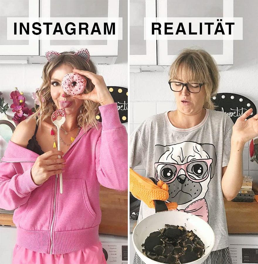 Инстаграм и жизнь: девушка готовит завтрак