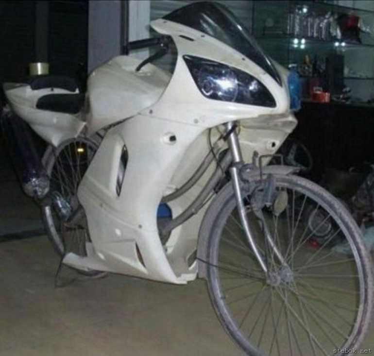 велосипед, сделанный под мотоцикл