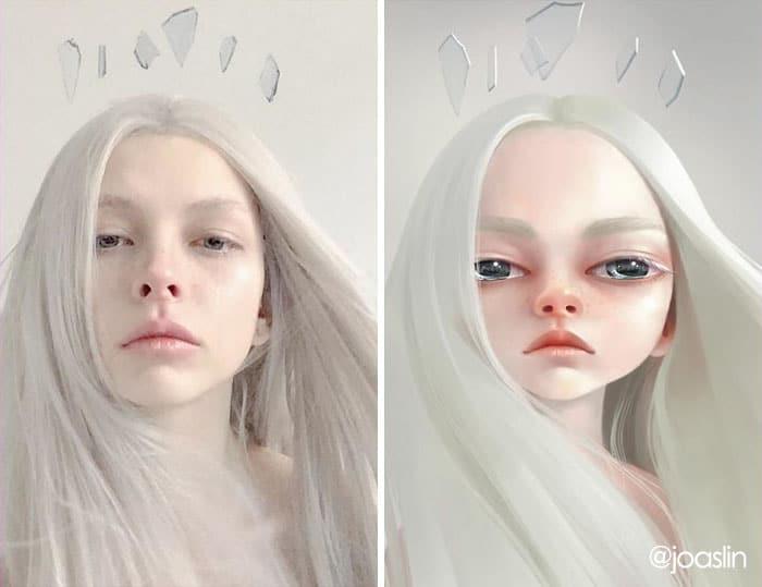 девушка с белыми волосами