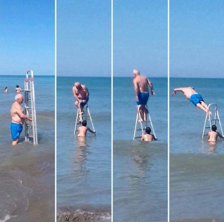 мужчина на море