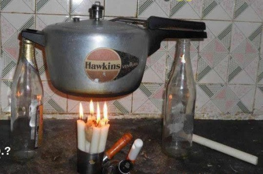 кастрюля над свечой