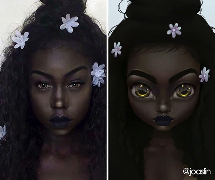 девушка с цветками в волосах