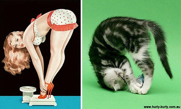 девушка пин-ап и полосатый котенок