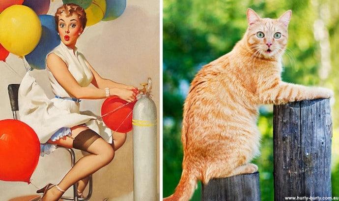 пин-ап девушка и рыжий кот