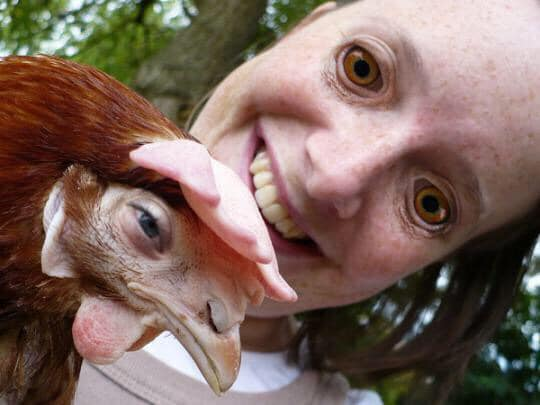 девушка с курицей