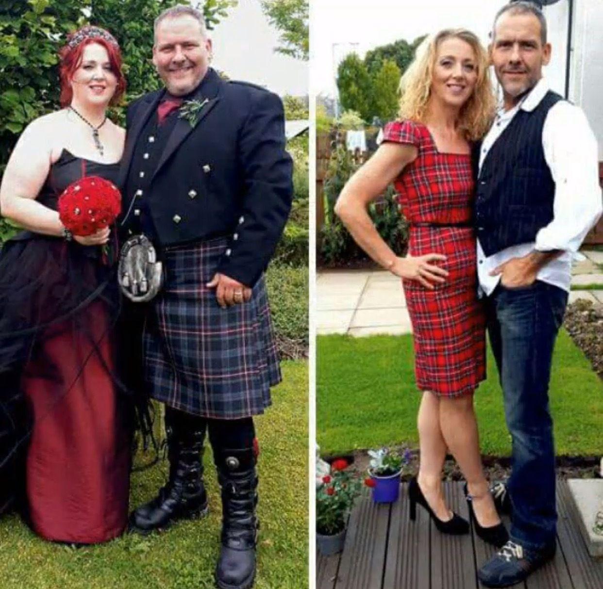 полная пара и худая пара мужчина и женщина сбросили вес