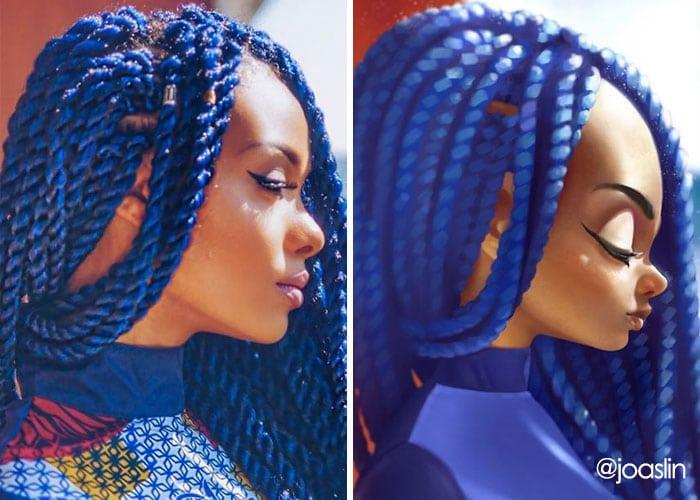 девушка с синими дредами