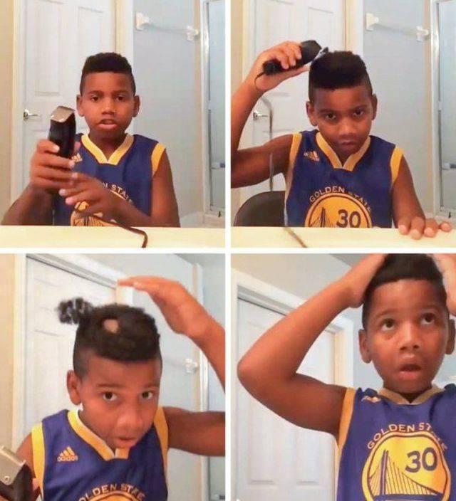 чернокожий мальчик стрижет волосы