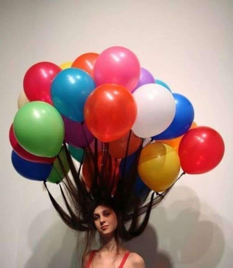 воздушные шары в волосах