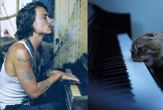 джонни депп играет на пианино
