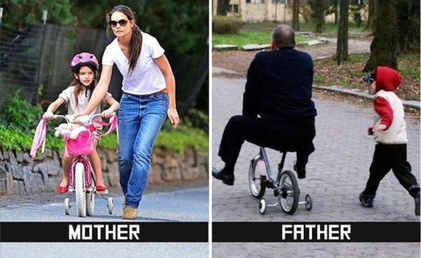 дети на велосипеде с родителями