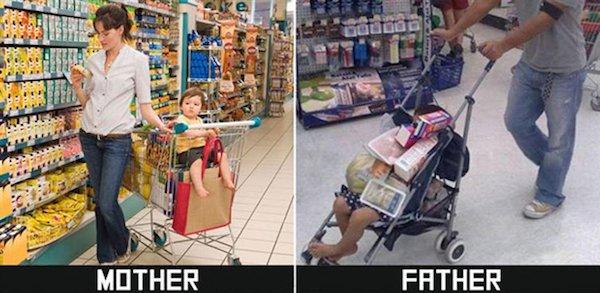 дети в магазине с мамой и папой