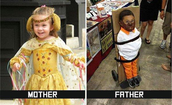 девочка и мальчик в костюмах