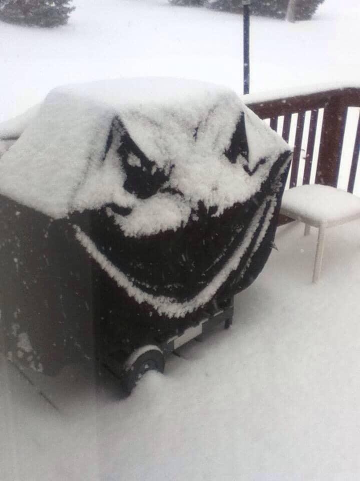 печка гриль под снегом