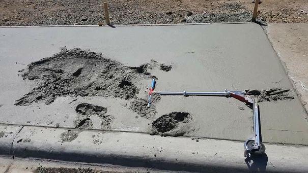 след в свежем цементе