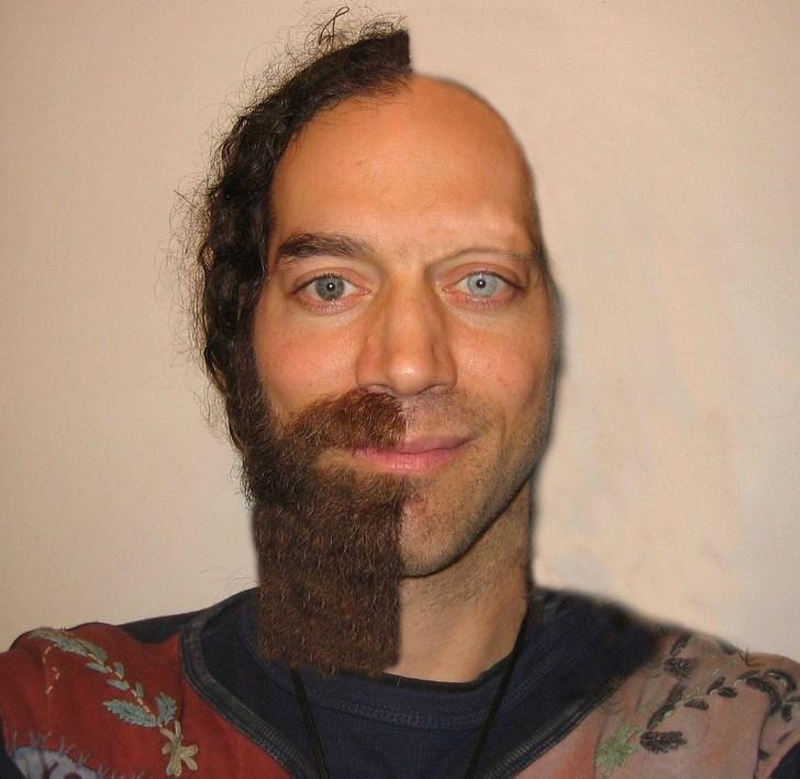 мужчина сбрил бороду и волосы