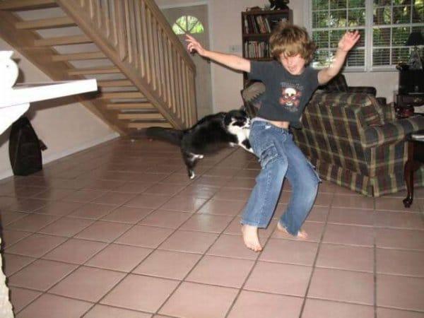 кот напал на мальчика
