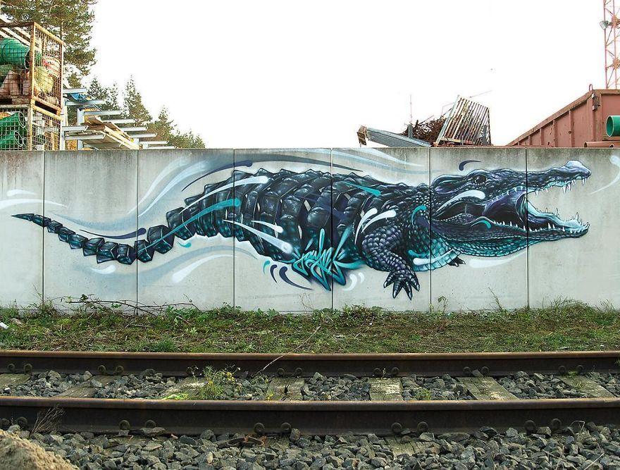 рисунок аллигатора на стене