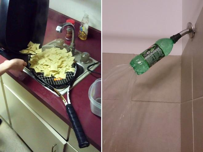 ракетка с едой и бутылка