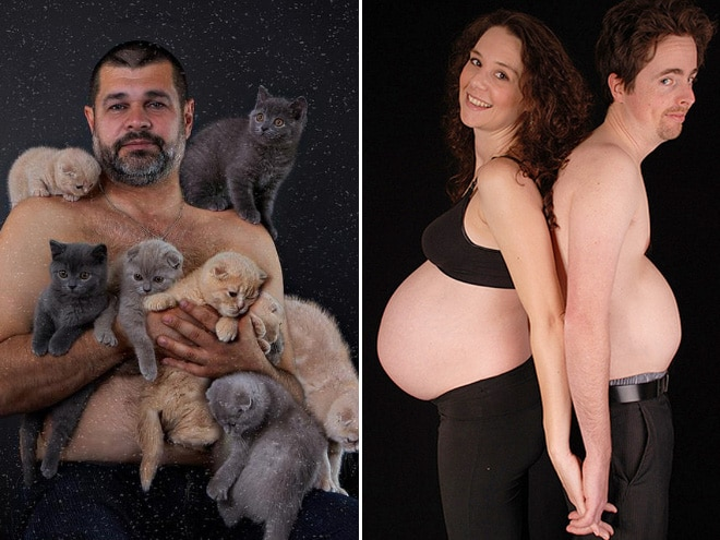 папа с кошками и дочкой
