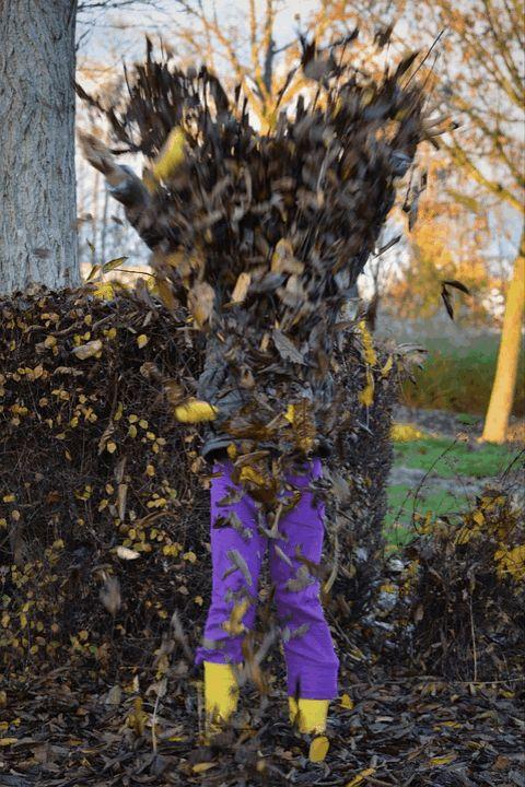 девочка бросает листья осень