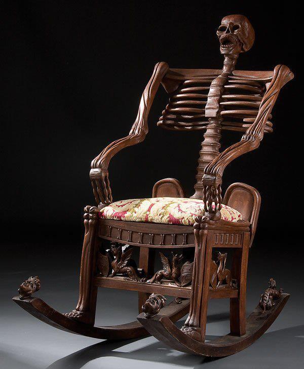 кресло качалка в форме скелета