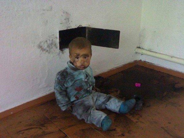 ребенок в саже