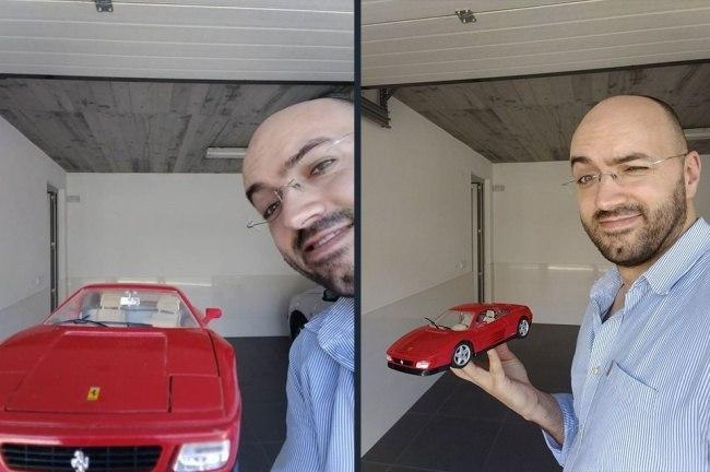 мужчина с красной машинкой
