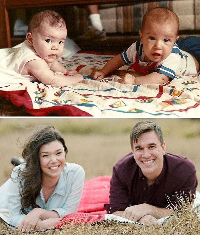 дети на одеяльце, девушка и парень на одеяле