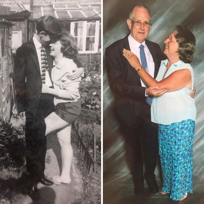 парень обнимает девушку, дедушка обнимает бабушку