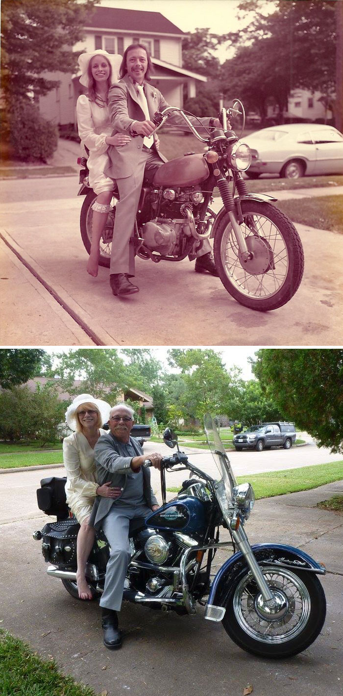 молодые на мотоцикле и старые ан мотоцикле