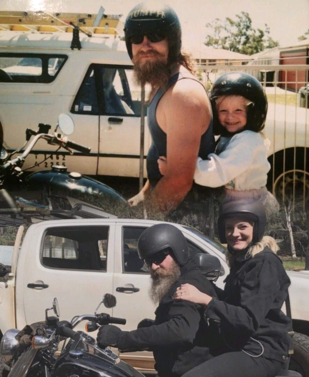 папа с дочкой на мотоцикле