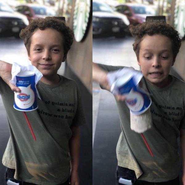 мальчик перевернул мороженое