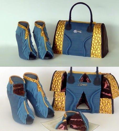 торт в виде туфель и сумки