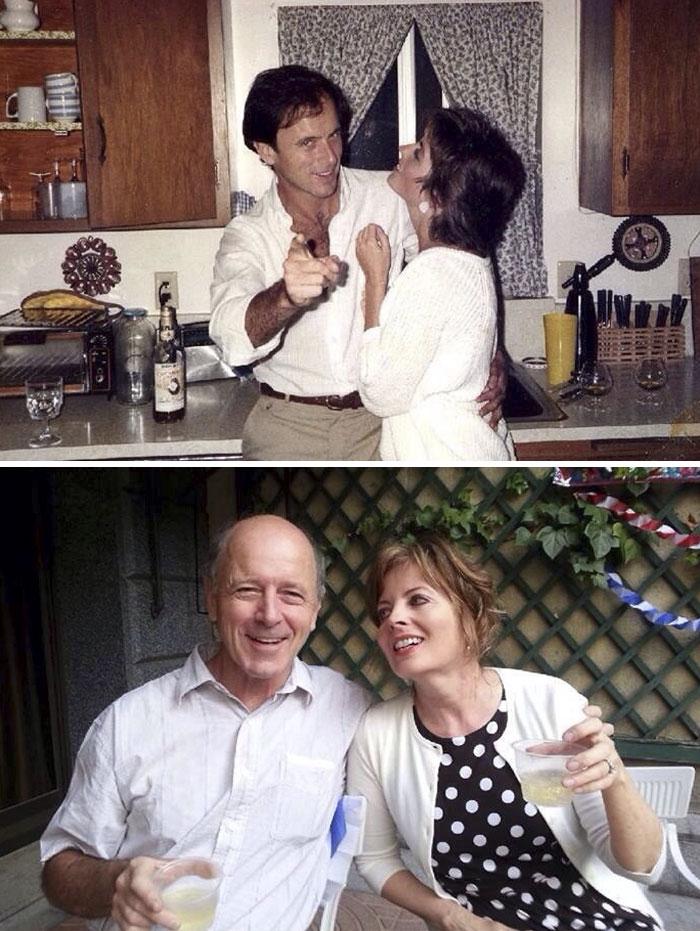 мужчина обнимает женщину на кухне