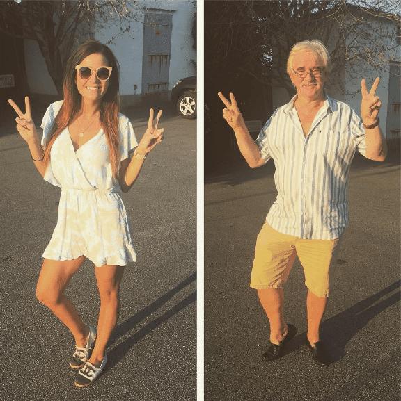 забавные папа и дочь