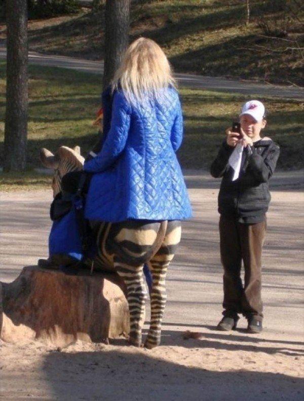 девушка верхом на зебре