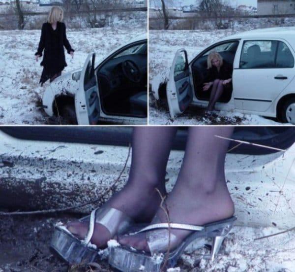 девушка застряла на авто