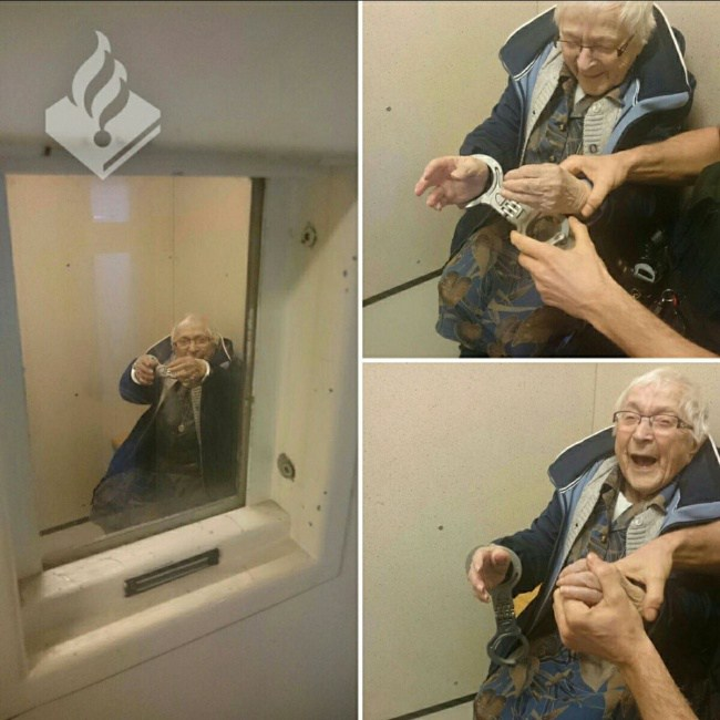 пожилая женщина в наручниках