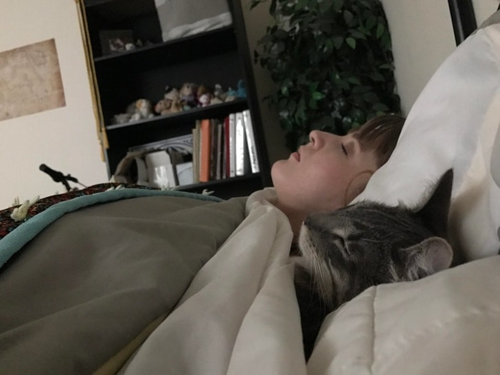 кот спит в кровати с девушкой