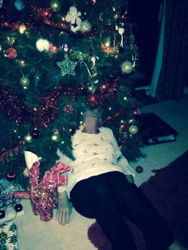 женщина лежит под елкой