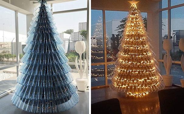 елки из переработанного пластика