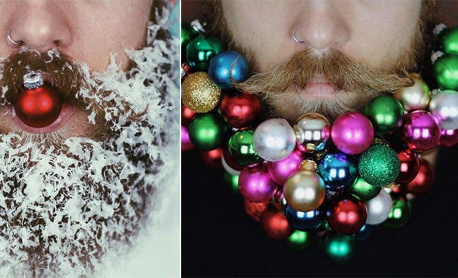 елочные шары в бороде