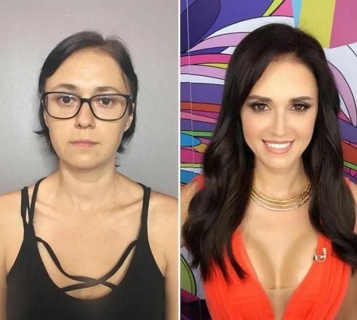 брюнетка до и после макияжа