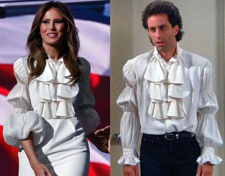 мелания трамп в белой блузке