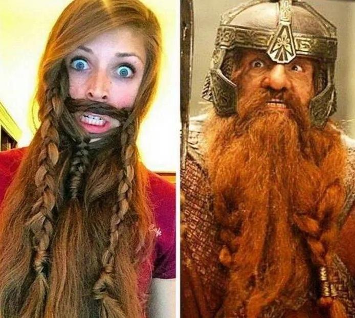 девушка с длинными косами и викинг