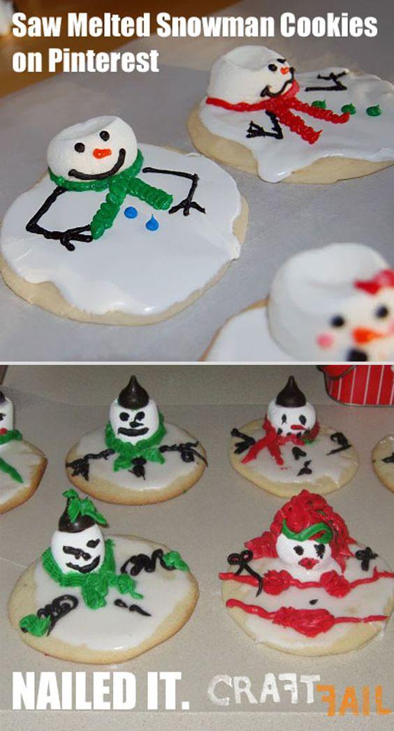 Печенье-снеговик из рецепта и его неудачное изготовление
