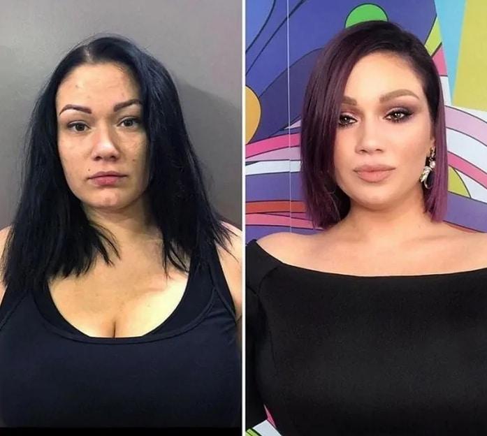 брюнетка до и после